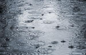 Heavy rain into a puddle